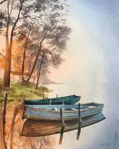 "WATERCOLOR. ART. АКВАРЕЛЬ. on Instagram: ""The choice is made by @yuliya_dormidontova . Art by @eva_vla @cartel.watercolorists , put the tag #CARTEL_WATERCOLORISTS. . .…"" Watercolor Landscape Paintings, Landscape Drawings, Watercolor Artwork, Seascape Paintings, Watercolor Illustration, Landscape Art, Landscape Photography, Watercolour, Boat Painting"