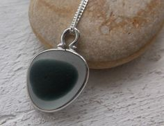 Grey End Of Day Sea Glass Sterling Silver Necklace by SeahamWaves, £25.00