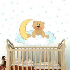 Αυτοκόλλητο τοίχου αρκουδάκι με φεγγαράκι & αστεράκια Toy Chest, Storage Chest, Toddler Bed, Baby, Furniture, Home Decor, Child Bed, Decoration Home, Room Decor