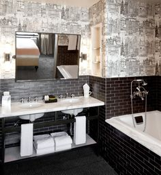 A Couple Of Prominent Features In Hotel Chic Bathrooms; Double Basin Setup  And A Good