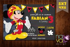 Mickey And The Roadster Racers Invitation, You Print Invitation, Mickey And The Roadster Racers Birthday Party Invite, Mickey Mouse Party https://www.fiverr.com/naybettnl/crear-la-invitation-party-imprimible
