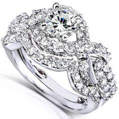 14k White Gold 1 1/4ct TDW Diamond Braided Bridal Ring Set (H-I, I1-I2)   Overstock.com