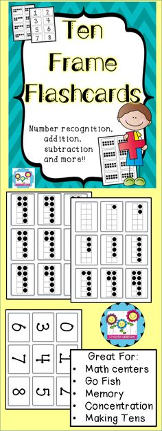 Ten Frame Flashcards! A great way to teach number sense and making tens. Can be used for math centers, Go Fish, War, Concentration and more!  #tenframes #numbersense #flashcards