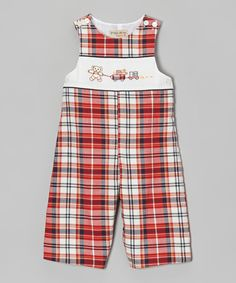 Look at this Red & Navy Plaid Bear Overalls - Infant on #zulily today!