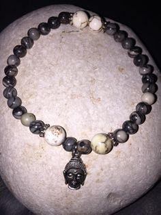 $34 Unisex jasper stone beaded stacking bracelet with Buddha head by CustomBeadsByDani on Etsy