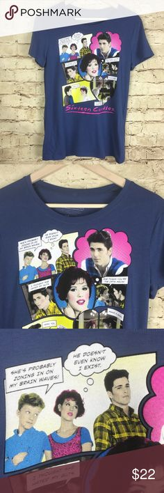 Sixteen Candles Movie Blue Graphic T-shirt Size M Sixteen Candles Movie Women T-Shirt  New Without Tags This shirt features characters from the John Hughes 1980's cult classic Sixteen Candles Characters included on the shirt: Samantha Baker (Molly Ringwald); Jake Ryan (Michael Schoeffling); Geek (Anthony Michael Hall) Blue  Short Sleeve  Graphic Tee  Size M  Approximate measurements: bust 18 inches; length 25.25 inches; sleeve 6 inches Sixteen Candles Tops Tees - Short Sleeve