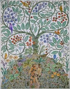 'Adam and Eve' design (w/c on paper), Voysey, Charles Francis Annesley (1857-1941) / Private Collection / The Stapleton Collection / Bridgeman Images