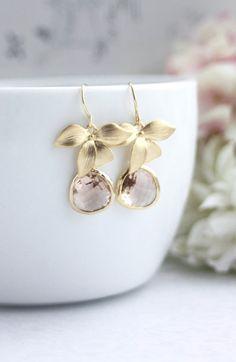 Peach Earrings, Wedding Earrings, Gold Orchids, Flowers Earrings, Champagne Peach, Orchid Flower Earrings,  Dangle Earrings, Peach Gold Earrings, Bridesmaid Earrings by MAROLSHA - https://www.etsy.com/listing/123523368/peach-earrings-gold-orchid-flowers?ref=shop_home_active_59
