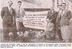 Les pasteurs baptistes évangélique français a l'église  baptiste de Maniwaki, Québec 1957