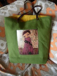Love/a girl and her cat  Forest Green Art Bag with a by eltsamp, $58.00