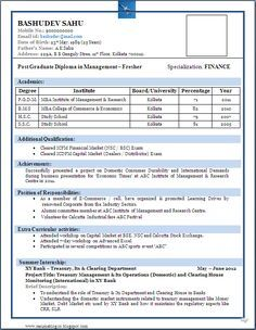 Pin By Jayantadebnath On Resume Fresher Pinterest Resume Format