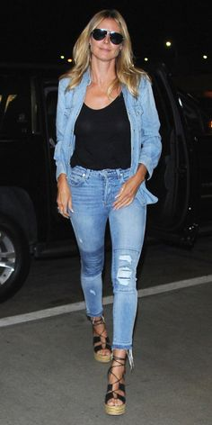 Celebrity-Inspired Outfits to Wear on a Plane - Heidi Klum - from InStyle.com