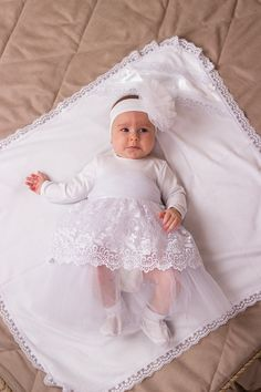 For christening dresses made of cotton with lace. There is a cotton under the lace layer. The tulle belt with sateen bow at the back decorate the dress and your little princess looks amazing. Ordering the item, you receive only dress. If you need the christening blanket, you can find it in my store and order separately. If you need headband or booties, please contact me and I will give you an advice with more models. Time I need to make the dress if I dont have it already - around 2 days…