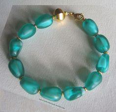 Bracelet-Pâte de verre et Vermeil Or Argent. Glass Paste and Vermeil Bracelet.