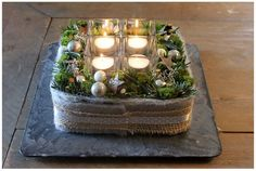 O - Advent - diyhochzeit Christmas Advent Wreath, Christmas Greenery, Christmas And New Year, Christmas Home, Christmas Holidays, Beautiful Christmas Decorations, Clay Ornaments, Holidays And Events, Centerpieces