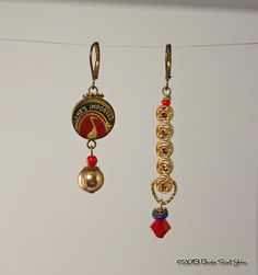 Unique Gilded Gilda Asymetrical Earrings in gold, red and navy blue.SaintsandSinnersShop, $18.00