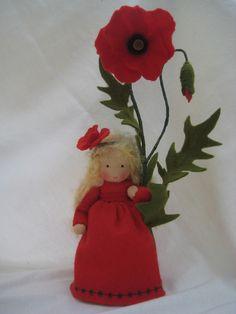 Deko-Objekte - Mohn- Blumenkind für den Waldorf-Jahreszeitentisch - ein Designerstück von Blumenkinder-Unikate bei DaWanda