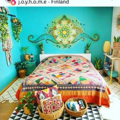 ave a colorful friday bohoinspired chalkpaint finland ho 2 Bohemian Bedroom Decor ave bohoinspired chalkpaint Colorful finland Friday Bohemian House, Bohemian Bedroom Decor, Bohemian Interior, Boho Decor, Gypsy Bedroom, Bohemian Decorating, Deco Cool, Deco Boheme, Creative Home
