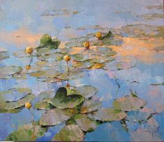 Morning - Alexi Zaitsev - Sale of paintings and other art works Lily Painting, Artist Painting, Painting & Drawing, Paintings I Love, Beautiful Paintings, Landscape Art, Landscape Paintings, Landscapes, Lotus Art