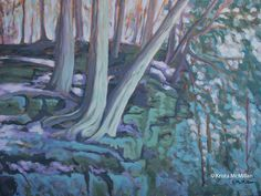 This soft autumn light has a cooling effect on this tree painting. Pastel colours and the diminishing light of the fall season are the inspiration behind this work.  Beamer Memorial Conservation area, Bruce Trail, Grimsby Ontario.