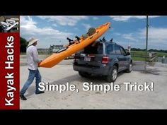 Easy one person method to load kayak on SUV without scratching - YouTube #kayakaccessories