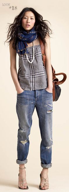 great jeans. i also like the scarf/necklace/tank combo