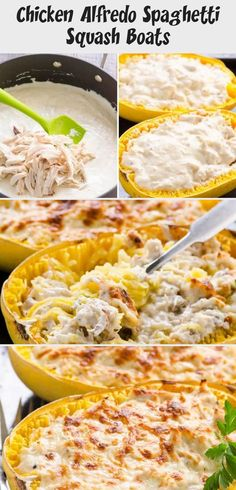 Spaghetti Squash Boats Recipe with chicken and creamy Greek yogurt Alfredo sauce. Healthy comfort food that is low carb and keto. Chicken Squash, Spaghetti Squash Boat, Squash Boats, Keto Alfredo Sauce, Minced Chicken Recipes, Healthy Comfort Food, Chicken Alfredo, Butter Chicken, How To Cook Chicken