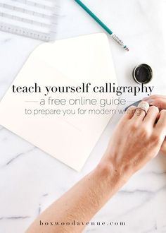 Teach yourself calligraphy online, with this free workshop from http://BoxwoodAvenue.com!
