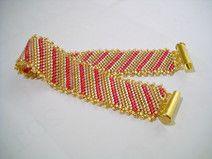 Diagonale Strepen Armband in Delica