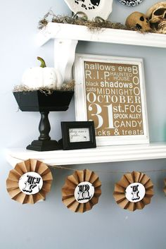 Halloween Vignette: thrift store wooden stand and pumpkin - spray painted; small framed printout; vinyl sticker subway glass with painted frame - the vinyl stick ons are sold here at houseofsmiths.com