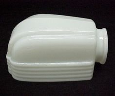 Milk Glass Art Deco Bathroom Light Shade for Wall Fixture.  New, American Made in the U.S.A. Lighting Replacement lampshade for a Antique, Vintage or Contemporary Bathroom, Hall, Stairway, or Closet Light Fixture. 1920, 1930s Slip Style, Arched Columns and Ribs, Hand Blown Opal White. Closet Light Fixtures, Bathroom Light Fixtures, Wall Fixtures, Art Deco Lamps, Art Deco Lighting, Bathroom Light Shades, Replacement Glass Lamp Shades, Small Linen Closets, Decorate Lampshade