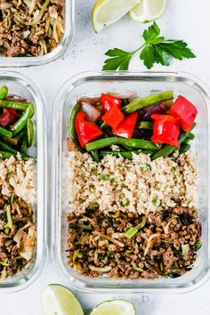Ground Turkey Cauliflower Rice Veggie Bowls (Meal-Prep) - I have an easy, flavorful and low-carb Ground Turkey Cauliflower Rice Veggie Bowls for you today. It's loaded with veggies and extra-lean protein. #lowcarb #mealprep #primaverakitchen