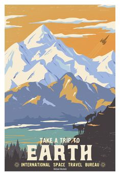Art Prints In addition to designing things for clients, I also create artwork for myself. Check out my online shop for books and art prints that I have created. Space Tourism, Space Travel, Vintage Art Prints, Vintage Travel Posters, Nature Posters, Space Posters, Vintage Space, Vintage Ski, Photo Vintage