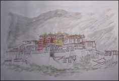 Potala Palace, Lhasa, Tibet. By Thomas Hoehn, watercolor painted from a personal photograph.