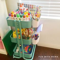 Organize kids art supplies markers with this Ikea Art Cart. It includes storage and organization tips and serves as a great homework station too!
