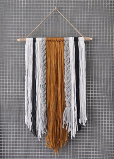 Modern Yarn Wall Hanging 2019 A modern spin on yarn that is bound to be a conversation piece. Each item is The post Modern Yarn Wall Hanging 2019 appeared first on Yarn ideas. Yarn Wall Art, Yarn Wall Hanging, Diy Wall Art, Diy Art, Wall Hangings, Art Yarn, Diy Crochet Wall Hanging, Stick Wall Art, Room Decorations