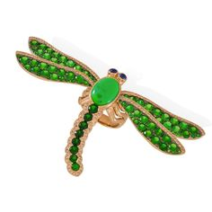 Lydia Courteille dragonfly ring with diamonds, garnets, turquoise and rubies