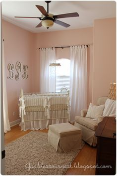 """LOVE the monogram letters on the wall! Paint color: Sherwin Williams """"Romance"""""""