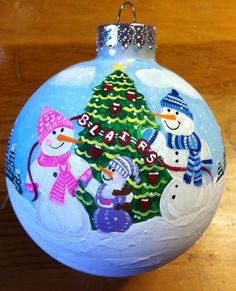 winter village red glass hand painted christmas ball on ebay - Google Search