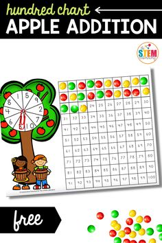 There are one thousand fun ways to use and learn from a hundred chart, and this hundred chart apple addition game is one of them! #apples #math #hundredchart Fine Motor Activities For Kids, Apple Activities, Math Literacy, Literacy Activities, Apple Life Cycle, My Five Senses, Addition Games, Math Stem, Johnny Appleseed