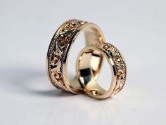 Obrączki ślubne Indian Wedding Rings, Heart Wedding Rings, Gold Wedding Jewelry, Metal Jewelry, Jewelry Art, Diamond Jewelry, Jewelry Accessories, Gold Jewelry, Gold Ring Designs