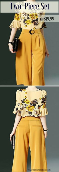Classic look: floral print blouse with ruffled sleeves and pant. Get this 2 piece set by clicking on the photo!