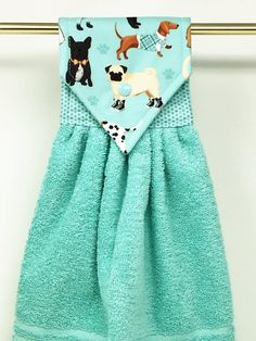 Dog Hanging Kitchen Towel, Dogs Hanging Hand Towel, Aqua Kitchen Towel, Aqua Hand Towel, Dog Hand To towel colors Kitchen Towels Hanging, Kitchen Hand Towels, Hanging Towels, Dish Towel Crafts, Dish Towels, Tea Towels, Sewing Hacks, Sewing Crafts, Mothers Day Crafts