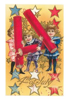 Vintage fourth of July invitations #fireworks#patriotic_note_cards