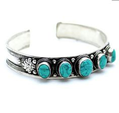 Turquoise bangle Turquoise bracelet White Metal Silver Miao Hill Tribe Native American Navajo Cherokee Tribal Indie Boho Bohemian Gypsy  l by ShopSparrow, $27.99