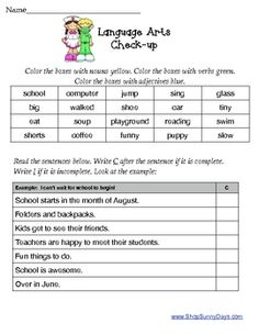 Assess your students' Language Arts skills at the start of the year with this assessment activity. Skills assessed include parts of speech, complete sentences, punctuation, rhyming, capitalization, homophones and prefixes. Three page activity and answer key included.