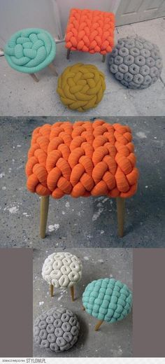 DIY ::: The prettiest wool stools. These are adorable. What would I need to crochet a huge chain like this? Just do a hand chain with a stuffed tube of fabric? Fabric Houses, Home And Deco, Decoration, Diy Furniture, Refurbishing Furniture, Modern Furniture, Diy Home Decor, Diy And Crafts, Upholstery