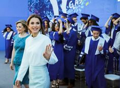 On May 23, 2017, Queen Rania attended the 2017 graduation ceremony at the Amman International Academy (IAA) in Amman, Jordan. Founded in 2004 in Amman, Jordan, the International Academy - Amman is an independent, co-educational, Pre-K to Grade 12, day school and one of Queen Rania's organizations.
