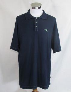 Tommy Bahama Men's Blue Emfielder Marlin Logo Golf Polo Shirt XL Supima Cotton #TommyBahama #PoloRugby
