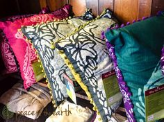 Throw pillows are an easy way to update your decor in a flash! Visit #PeaceOfTheEarth and check out these beauties!!